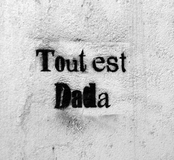 Tout est Dada - on a wall in Calvi, Corsica, photo by Kat Georges