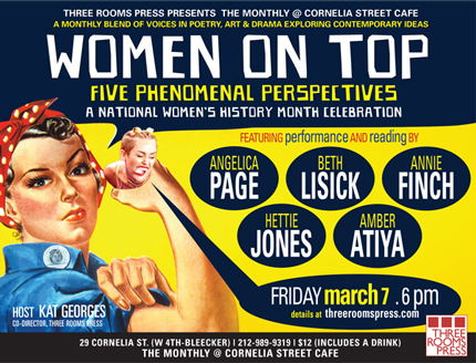 Women on Top: March 7 at Cornelia Street Cafe NYC