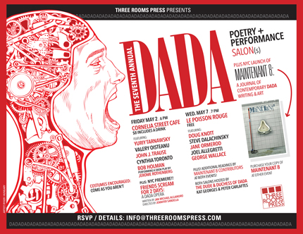 May 2 & May 7: NYC Dada Performance Salons @ Cornelia St Cafe & @ Le Poisson Rouge