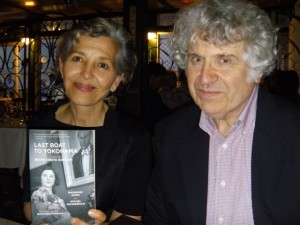 "Nassrine Azimi (left) and Michel Wasserman (right) at the ""Last Boat to Yokohama"" launch at the Rubin Museum."